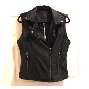 Max Studio black faux leather vest